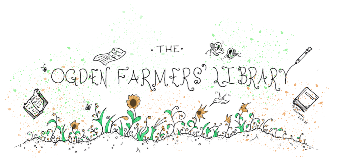 The words Ogden Farmers' Library floating above a green and orange garden, populated by books, pages, pencils, and butterflies.